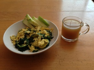 Two eggs scrambled in one tablespoon of organic butter and two tablespoons of bone broth with fresh baby spinach and zucchini.  One cup warm bone broth.