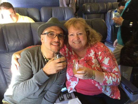 Dana surprised me with First Class tickets from SFO to Honolulu...Yes, that is champagne that we are drinking!