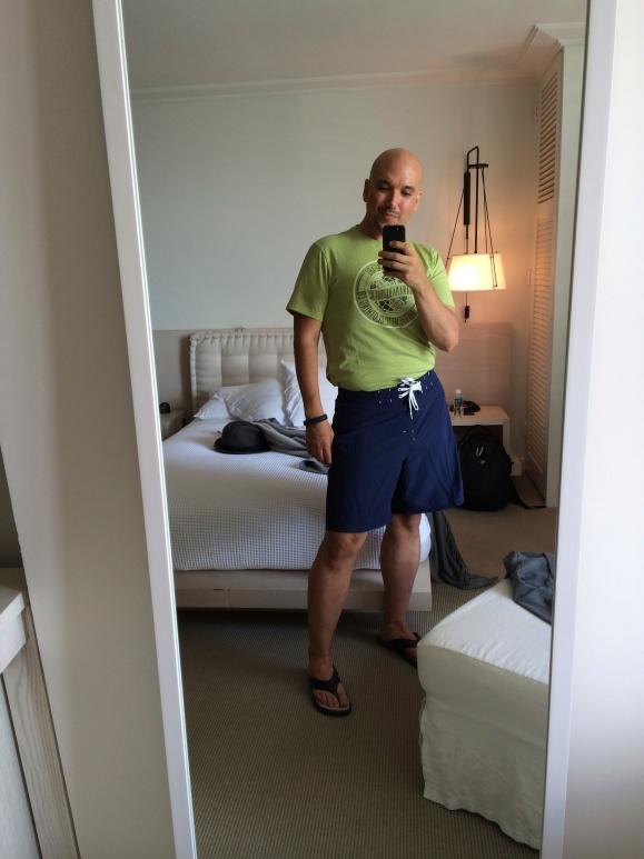 Feeling GOOD and trim in my board shorts / swim suit!